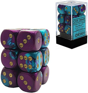 Chessex 16mm Gemini Purple Teal/Gold 12ct D6 Set (26649)