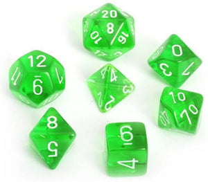 Chessex Translucent Green/White 7ct Polyhedral Set (23005)