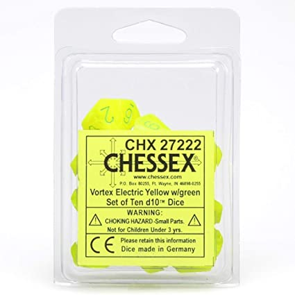 Chessex Vortex Electric Yellow/Green 10ct D10 Set (27222)