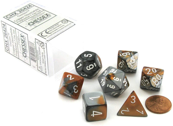 Chessex Gemini Copper-Steel/White 7ct Polyhedral Set (26424)