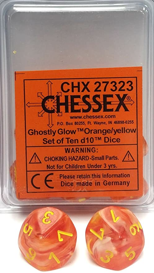 Chessex Ghostly Glow Orange/Yellow 10ct D10 Set (27323)
