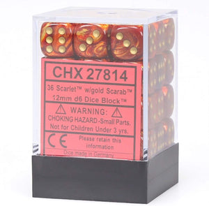 Chessex 12mm Scarab Scarlet/Gold 36ct D6 Set (27814)