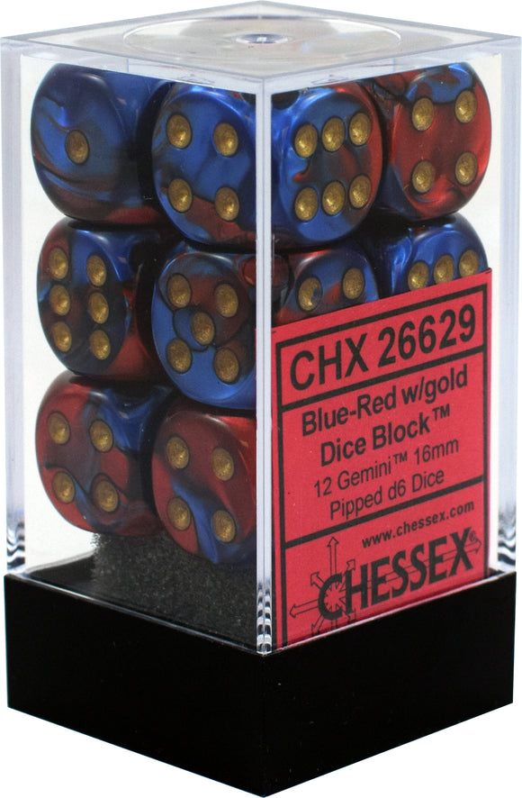 Chessex 16mm Gemini Blue-Red/Gold 12ct D6 Set (26629)