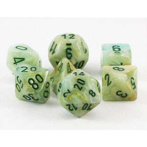 Chessex Marble Green/Dark Green 7ct Polyhedral Set (27409)