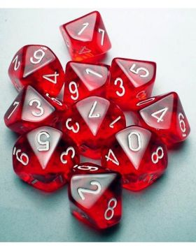 Chessex Translucent Red/White 10ct D10 Set (23274)