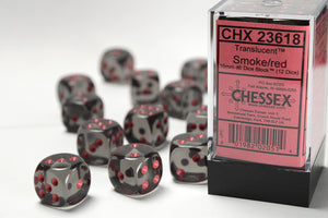 Chessex 16mm Translucent Smoke/Red 12ct D6 Set (23618)