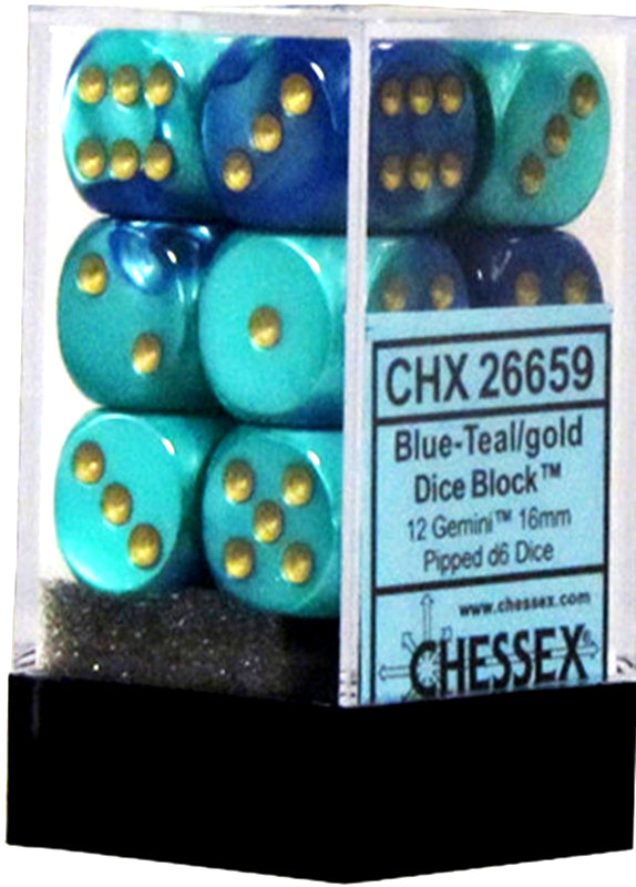 Chessex 16mm Gemini Blue-Teal/Gold 12ct D6 Set (26659)