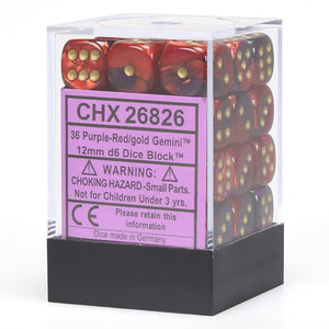 Chessex 12mm Gemini Purple-Red/Gold 36ct D6 Set (26826)
