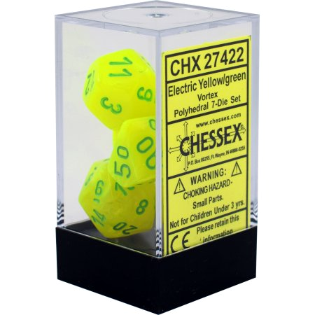 Chessex Vortex Electric Yellow/Green 7ct Polyhedral Set (27422)