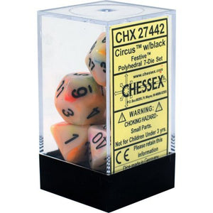 Chessex Festive Circus/Black 7ct Polyhedral Set (27442)