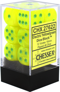 Chessex 16mm Vortex Electric Yellow/Green 12ct D6 Set (27622)