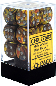 Chessex 16mm Lustrous Gold/Silver 12ct D6 Set (27693)