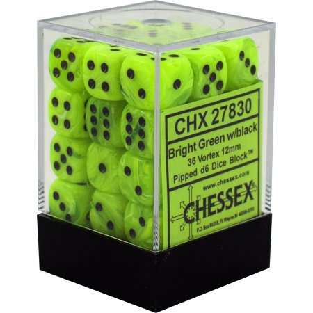 Chessex 12mm Vortex Bright Green/Black 36ct D6 Set (27830)