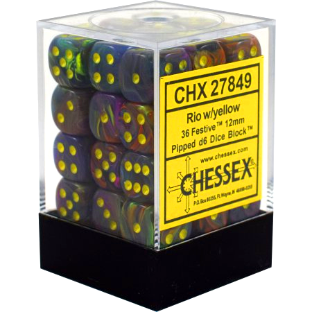 Chessex 12mm Festive Rio/Yellow 36ct D6 Set (27849)