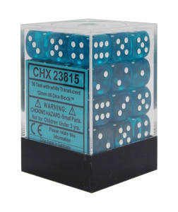 Chessex 12mm Translucent Teal/White 36ct D6 Set (23815)