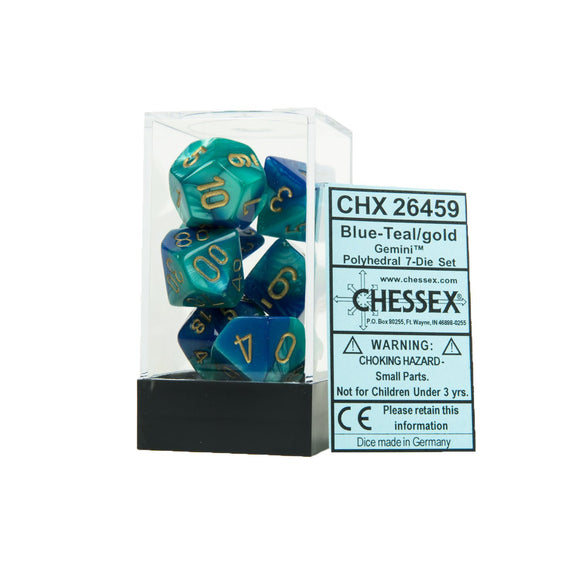 Chessex Gemini Blue-Teal/Gold 7ct Polyhedral Set (26459)