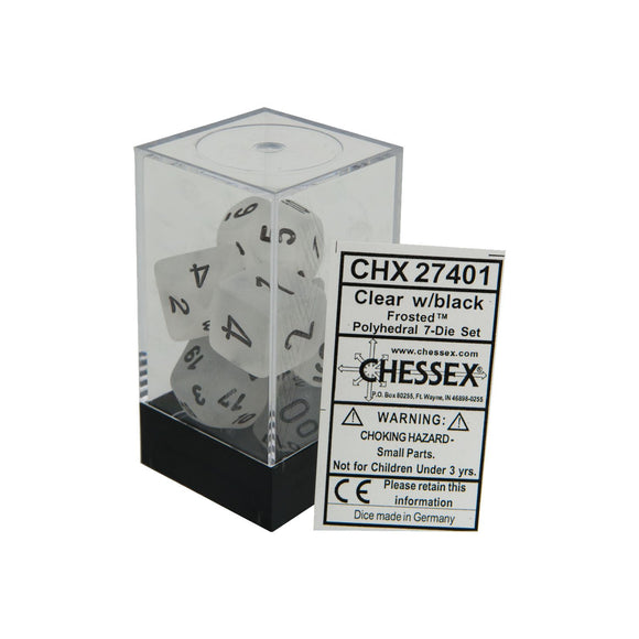 Chessex Frosted Clear/Black 7ct Polyhedral Set (27401)