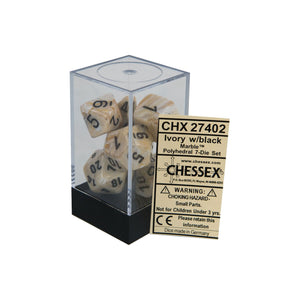 Chessex Marble Ivory/Black 7ct Polyhedral Set (27402)