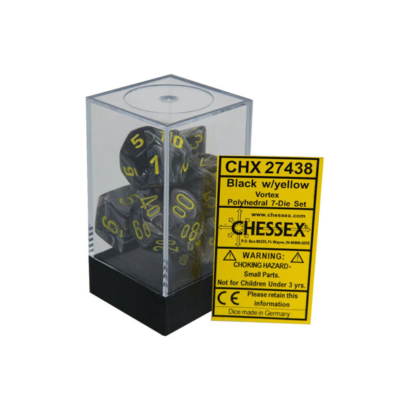 Chessex Vortext Black/Yellow 7ct Polyhedral Set (27438)