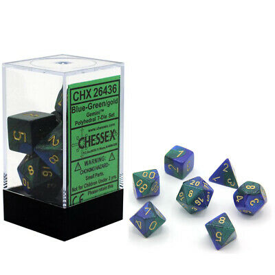Chessex Gemini Blue-Green/Gold 7ct Polyhedral Set (26436)