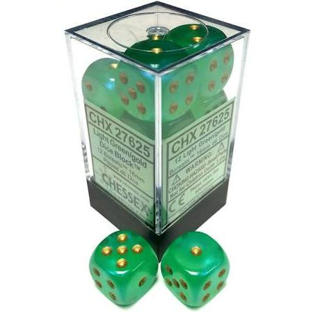 Chessex 16mm Borealis Light Green/Gold 12ct D6 Set (27625)