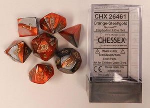 Chessex Gemini Orange-Steel/Gold 7ct Polyhedral Set (26461)