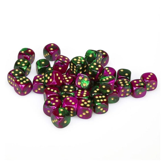 Chessex 12mm Gemini Green Purple/Gold 36ct D6 Set (26834)