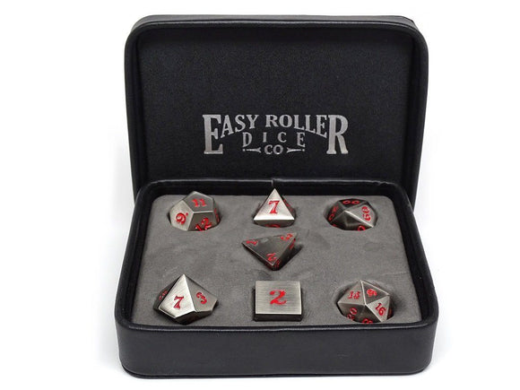 Easy Roller Metal Legendary Silver Red Signature Font 7ct Polyhedral Set
