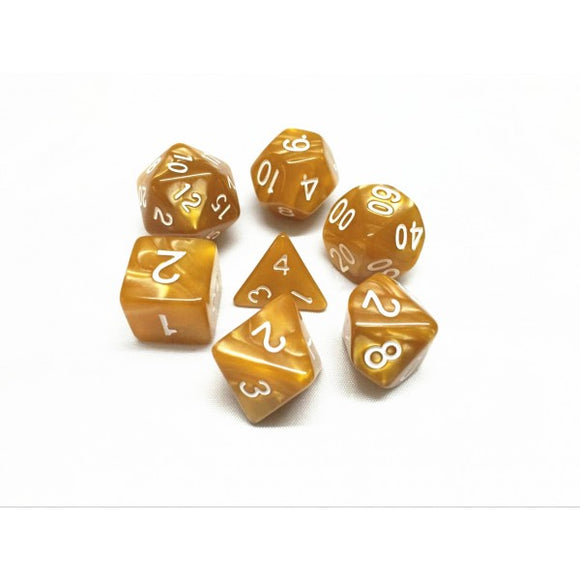 HD Dice Golden Pearl 7ct Polyhedral Dice Set