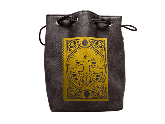 Easy Roller Black Leather Lite Spell Book Design Self-Standing Large Dice Bag