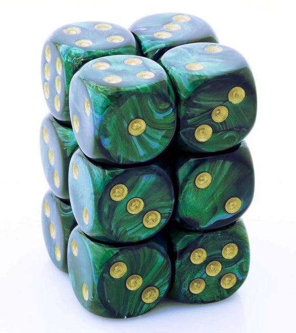 Chessex 16mm Scarab Jade/Gold 12ct D6 Set (27615)