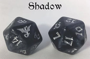 Black Oak Workshop Shadow Dragon Black/Silver Single D20