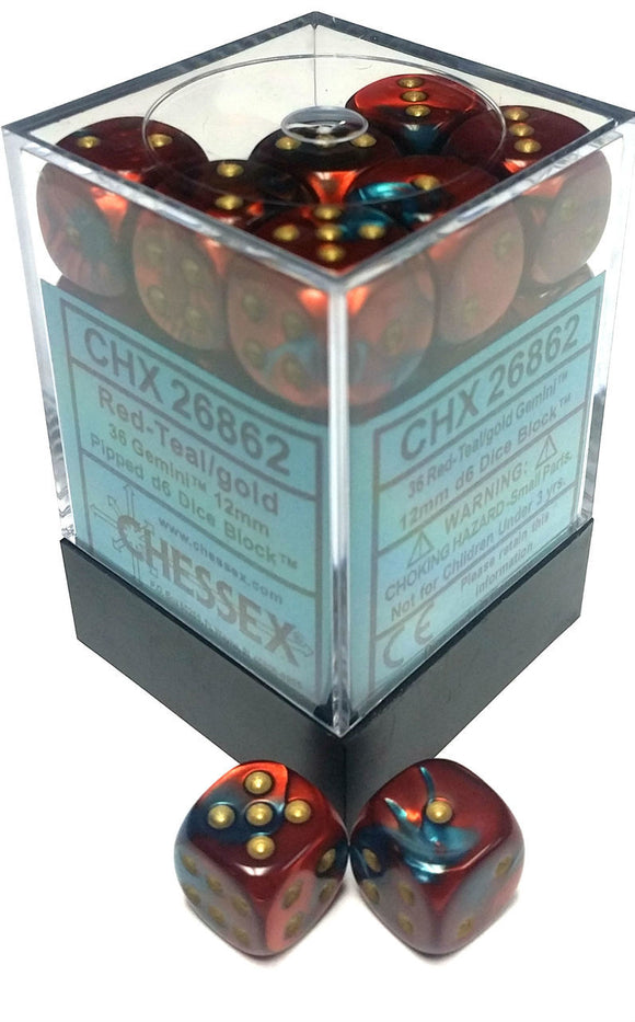 Chessex 12mm Gemini Red-Teal/Gold 36ct D6 Set (26862)
