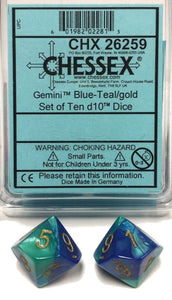Chessex Gemini Blue-Teal/Gold 10ct D10 Set (26259)