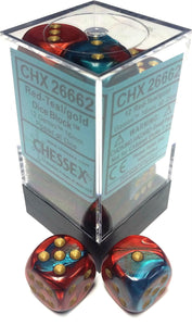Chessex 16mm Gemini Red-Teal/Gold 12ct D6 Set (26662)