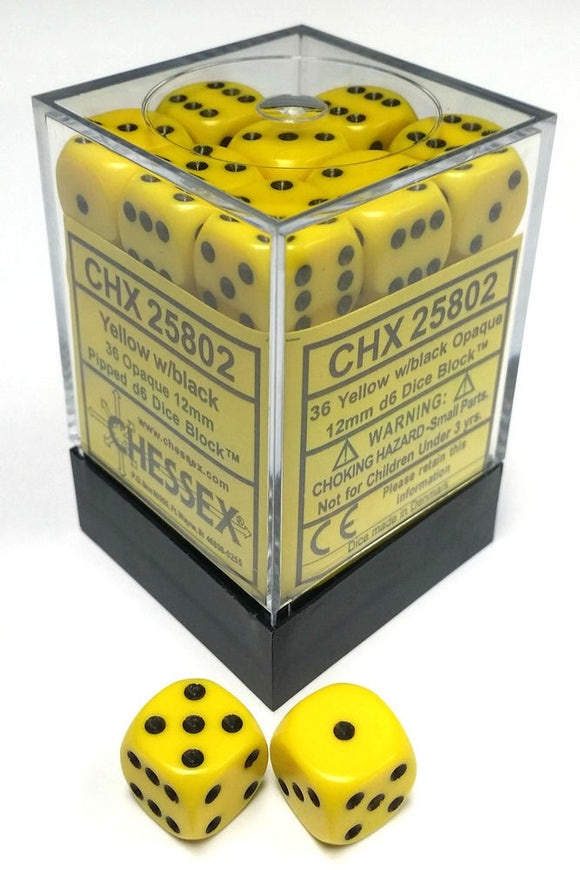 Chessex 12mm Opaque Yellow/Black 36ct D6 Set (25802)
