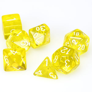 Chessex Translucent Yellow/White 7ct Polyhedral Set (23002)