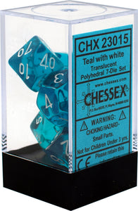 Chessex Translucent Teal/White 7ct Polyhedral Set (23015)