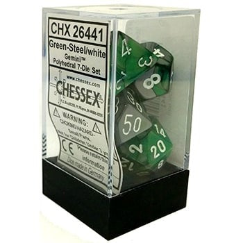 Chessex Gemini Green-Steel/White 7ct Polyhedral Set (26441)