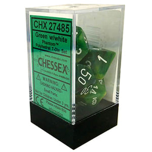 Chessex Phantom Green/White 7ct Polyhedral Set (27485)