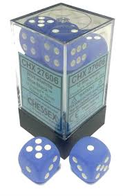 Chessex 16mm Frosted Blue/White 12ct D6 Set (27606)
