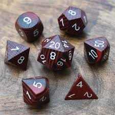 Wooden Red and Black Technical 7ct Polyhedral Dice Set