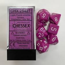 Chessex Opaque Light Purple/White 7ct Polyhedral Set (25427)