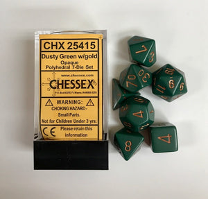 Chessex Opaque Dusty Green/Gold 7ct Polyhedral Set (25415)