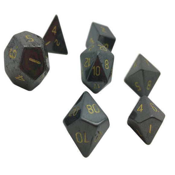Hematite Semi-Precious Gemstone 7ct Polyhedral Dice Set