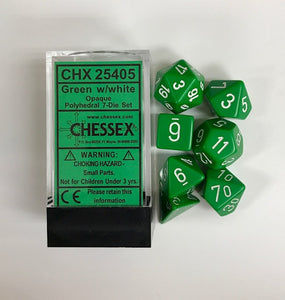 Chessex Opaque Green/White 7ct Polyhedral Set (25405)