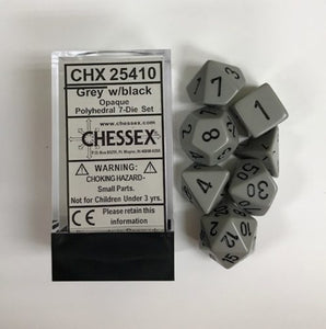 Chessex Opaque Dark Grey/Black 7ct Polyhedral Set (25410)