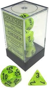 Chessex Vortex Bright Green/Black 7ct Polyhedral Set (27430)