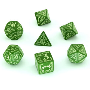 Q-Workshop Call of Cthulhu Green/Glow in the Dark 7ct Polyhedral Set