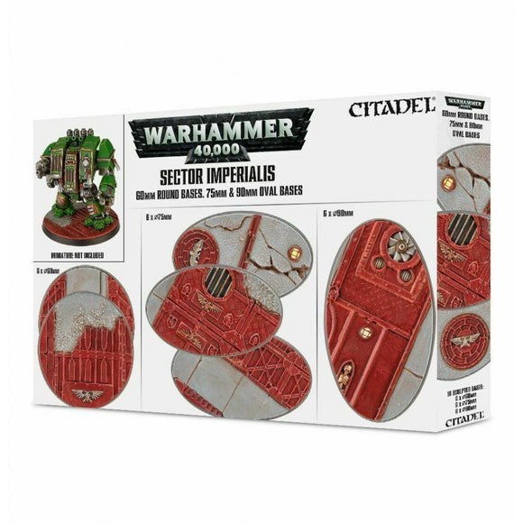 Warhammer 40,000 Sector Imperialis 60mm Round, 75mm Oval & 90mm Oval Bases